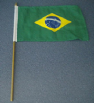 Brazil Country Hand Flag - Medium (stitched).